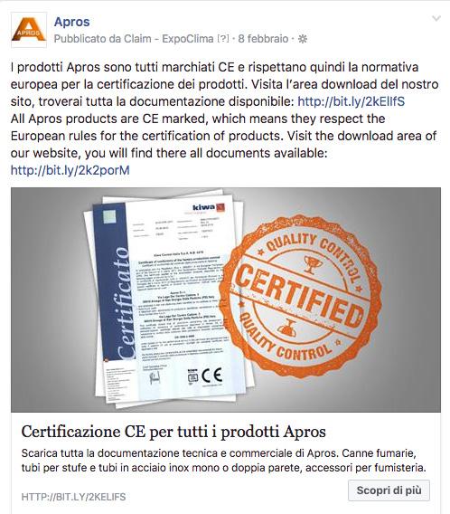 I prodotti Apros sono tutti marchiati CE