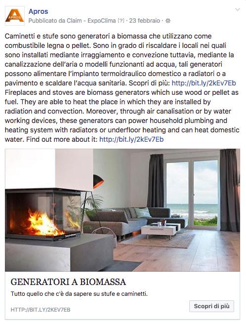 Caminetti e stufe sono generatori a biomassa