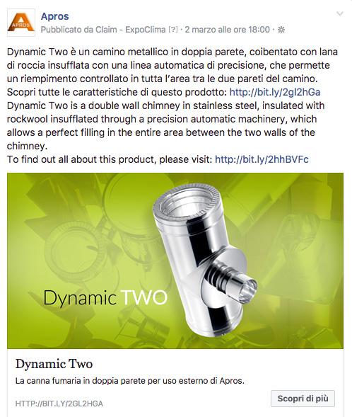 Dynamic Two è un camino metallico in doppia parete coibentato con lana di roccia