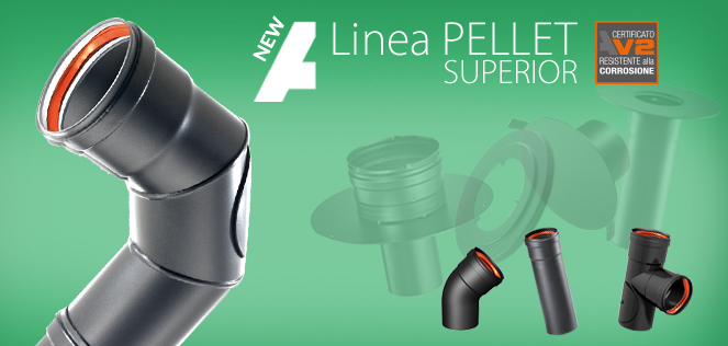 New Linea Pellet Superior: powder enameled flue pipes able to work in dry and wet conditions.