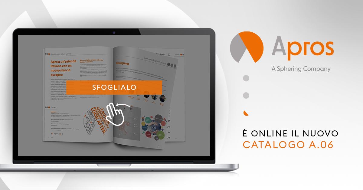 Nuovo catalogo Apros A.06: aggiornamento grafico e nuovi prodotti, con la tradizionale semplicità di consultazione