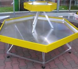 Bancali esagonali per esposizione gialli o verdi