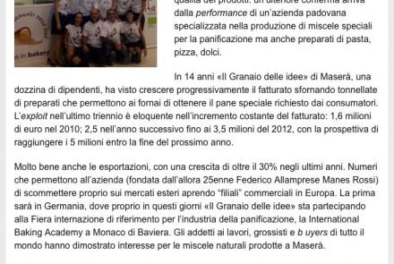 IL MATTINO DI PADOVA - IL GRANAIO DELLE IDEE SFORNA UN FRAGRANTE BOOM (22/09/12)