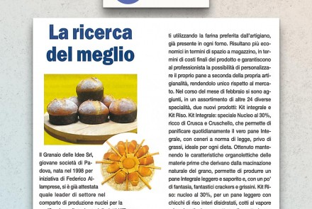 """IL PANIFICATORE"" MAGAZINE – ARTICLE ABOUT THE NUCLEOS FOR BAKING (MARCH 2005)"