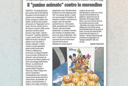 IL GAZZETTINO DI PADOVA - IL PANINO ANIMATO CONTRO LE MERENDINE (27/05/2004)