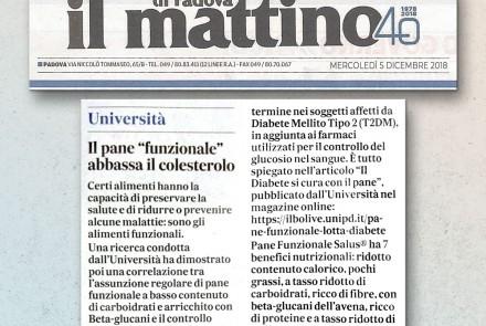 IL MATTINO DI PADOVA - IL PANE FUNZIONALE ABBASSA IL COLESTEROLO (5/12/18)