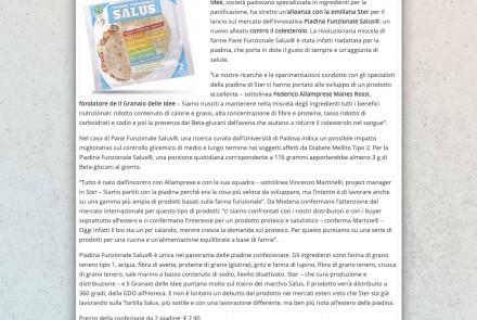 PADOVA24ORE - IL GRANAIO DELLE IDEE LANCIA LA PIADINA ANTICOLESTEROLO (GENNAIO 2019)