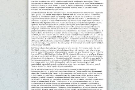 """4.0 Industry in the Veneto manufacturing sector"" webinar (February 2021)"
