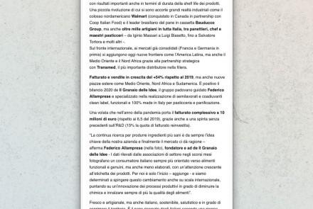 Il Mattino di Padova newspaper - article (march 2021)