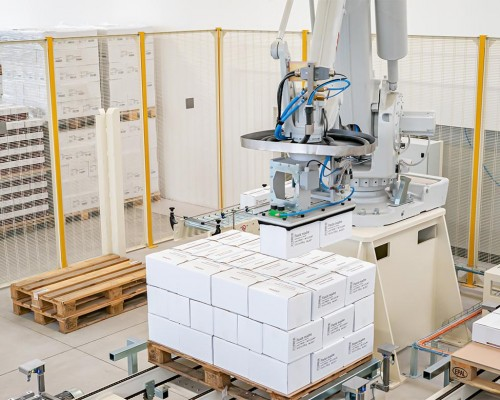 Automatic palletizing in the Due Carrare plant