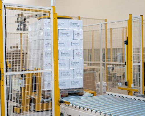 Automatic wrapping of the pallet