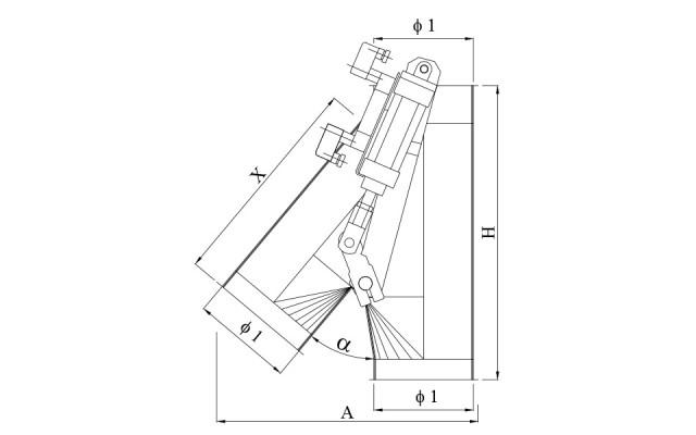 Deviazione asimmetrica elettropneumatica 30°÷40°÷45°